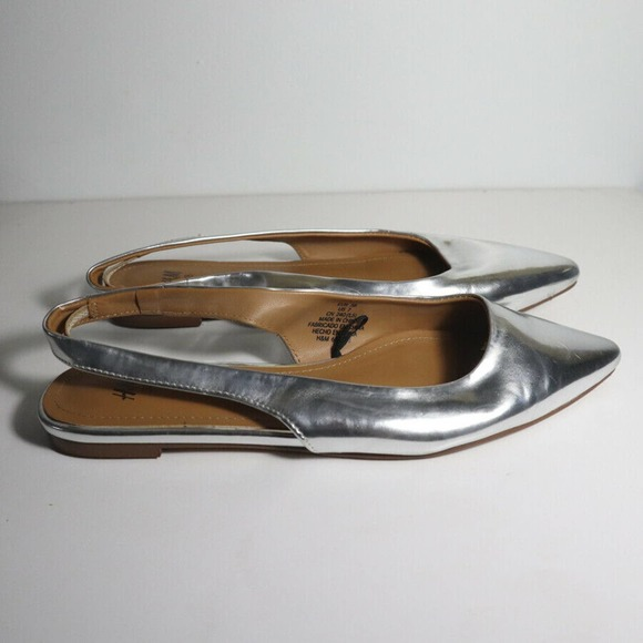 H&M Silver Slingback Flats Pointed toe